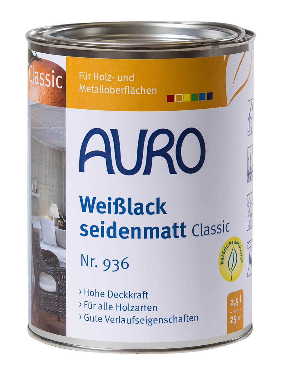 AURO Weißlack, seidenmatt, Classic Nr. 936- 2,50L