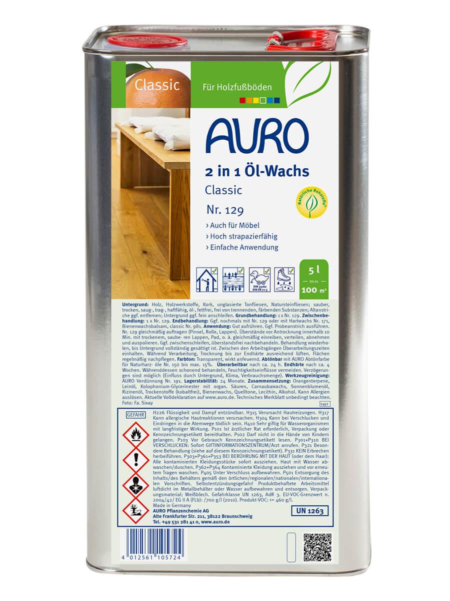 AURO 2 in 1 Öl-Wachs Classic Nr. 129 5,00L
